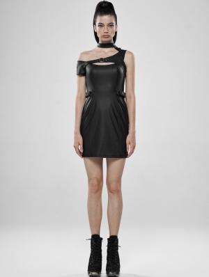Black Gothic Punk PU Leather Mini Dress