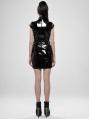 Black Gothic Punk Latex Chinese Style Short Dress