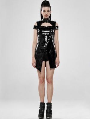 Black Sexy Gothic Punk Latex Mini Dress