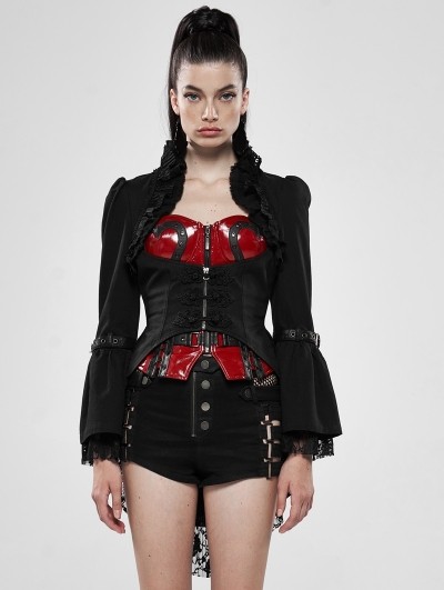 Black Gothic Steampunk Lace Tailcoat for Women