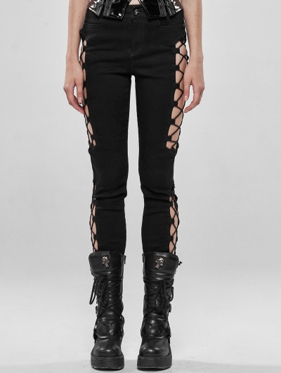 Black Gothic Punk Split Hollow-out Trousers for Women