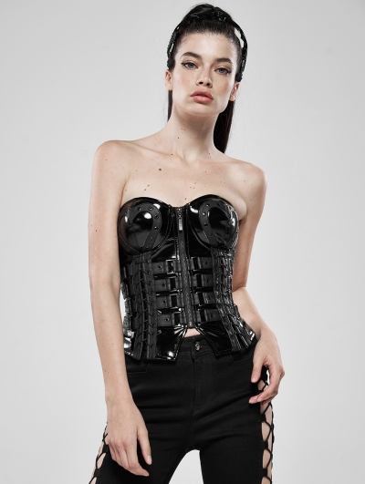 Black Gothic Love and Imprisonment Heavy Metal Heart-Shaped Corset