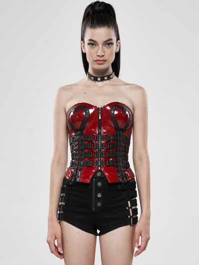 Red Gothic Love and Imprisonment Heavy Metal Heart-Shaped Corset