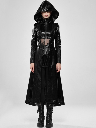 Black Gothic Cosmic Warrior Glossy Long Coat with Detachable Hem