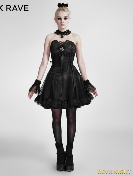 Black Lace Up Gothic Party Dress Devilnight Co Uk