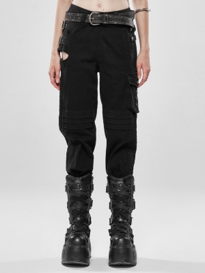 Black Gothic War-Dominated Punk Handsome Trousers for Women