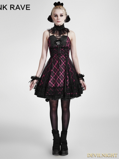 Purple Plaid Gothic Party Dress
