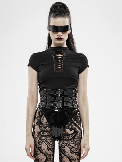 Black Sexy Gothic Punk Hollow-out Short Sleeve T-Shirt for Women