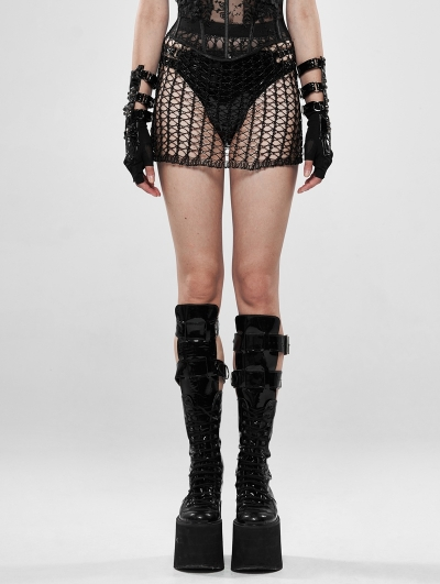 Black Gothic Cyber Tech Sexy Hollow-out Skirt