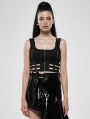 Puppet Futuristic Black Gothic Punk Vest Top for Women