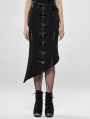 Deadly Game Black Gothic Military Half Fishtail Skirt