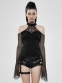 Black Gothic Off-the-Shoulder Long Sleeve T-Shirt for Women