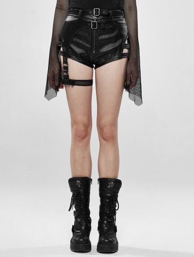 Military Watcher Black Gothic Punk Shorts for Women