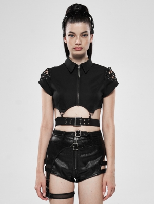 Dark Girl Hollow-Out Gothic Punk Metal Shirt for Women