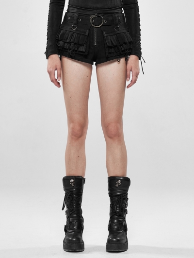 Black Steampunk Lace Shorts for Women