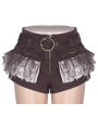 Brown Steampunk Lace Shorts for Women