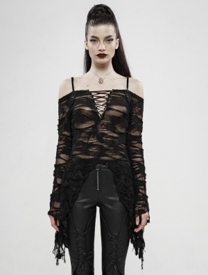 Black Butterfly Gothic Off-the-Shoulder Long Sleeve T-Shirt for Women