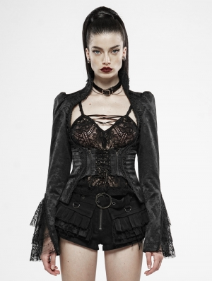 Black Vintage Gothic Jacquard Short Jacket for Women