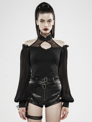Black Gothic Mysterious Soul Long Sleeve T-Shirt for Women