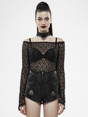 Black Gothic Rebirth Transparent Lace Long Sleeve T-Shirt for Women