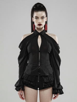 Demon's Tears Black Gothic Off-the-Shoulder Blouse with Removable Sleeves