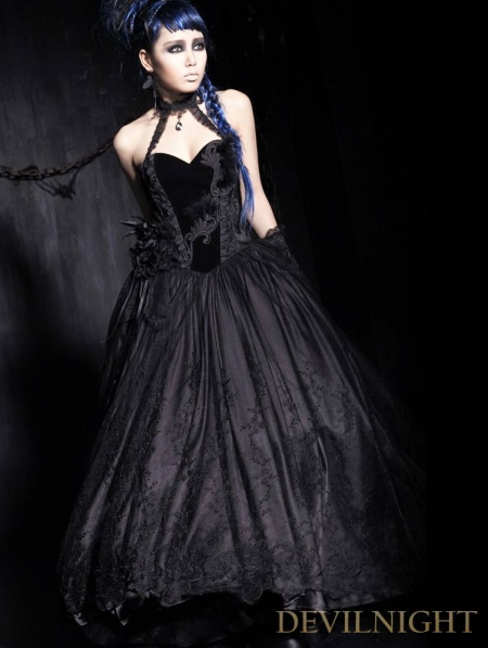 Long+Corset+Prom+Dresses Long Black Velvet Corset Gothic Prom Dress ...