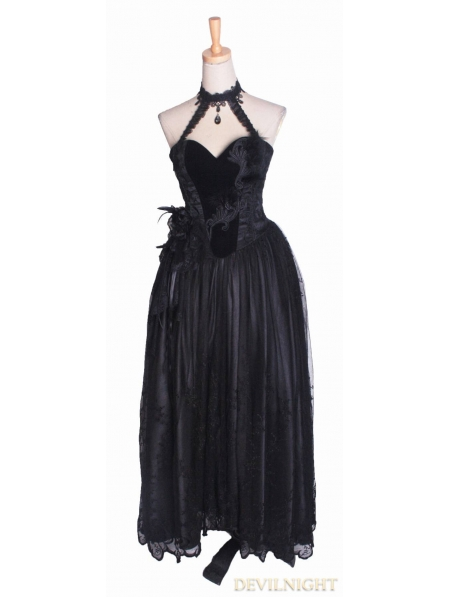 Long Black Velvet Corset Gothic Prom Dress - Devilnight.co.uk