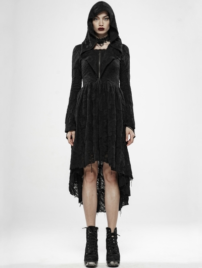 Dark Witch Black Gothic Long Cardigan with Hood