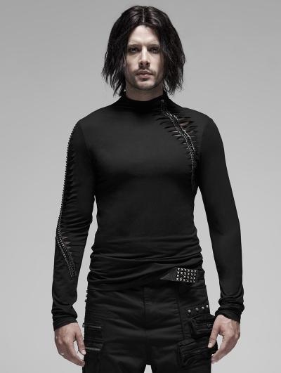 Black Gothic Hole Long Sleeve T-Shirt for Men