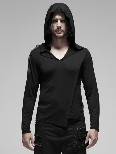 Black Gothic Punk Metal Long Sleeve Hooded T-Shirt for Men