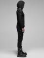 Black Gothic Punk Metal Long Sleeve Hooded T-Shirt for Men