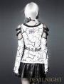 White Pattern Bare-Shouldered Womens Punk T-Shirt