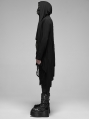 Black Gothic Punk Irregular Hooded Long Trench Coat for Men