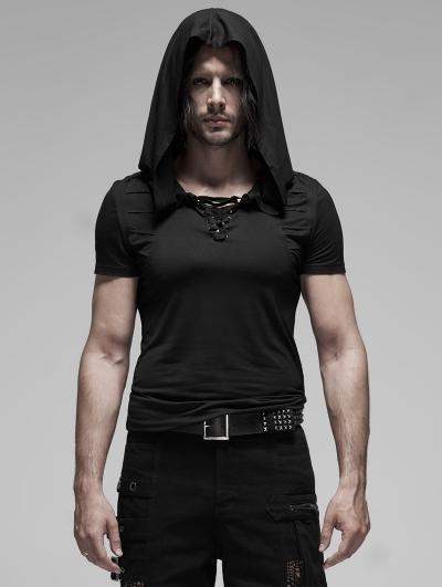 Black Gothic Short Sleeve Slim Hooded T-Shirt for Men