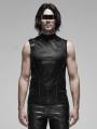 Black Gothic Punk Futuristic Sleeveless T-Shirt for Men