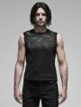 Black Gothic Punk Futuristic Sleeveless Vest Top for Men