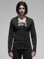Black Gothic Punk Pirate Long Sleeve T-Shirt for Men