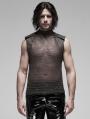 Black Gothic Punk Metal Futuristic Sleeveless Vest Top for Men