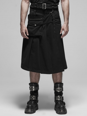 Black Gothic Punk Detachable Pleated Half Skirt for Men