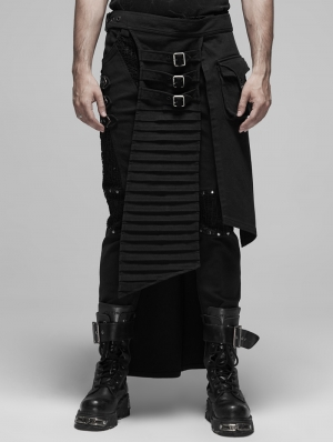 Black Gothic Punk Metal Irregular Skirt for Men