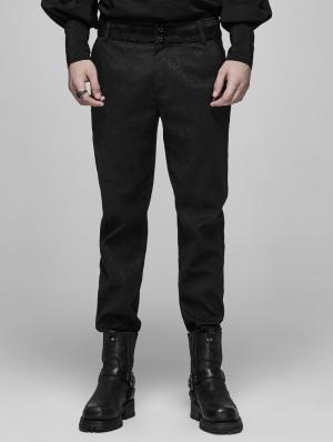 Black Vinatge Gothic jacquard Long Pants for Men