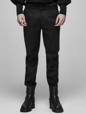 Black Vinatge Gothic Blood jacquard Long Pants for Men
