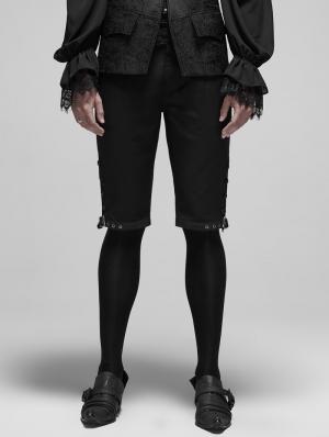 Black Vintage Gothic Rococo Court Shorts for Men