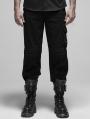 Black Gothic Military FalseTwo-Piece Long Pants for Men