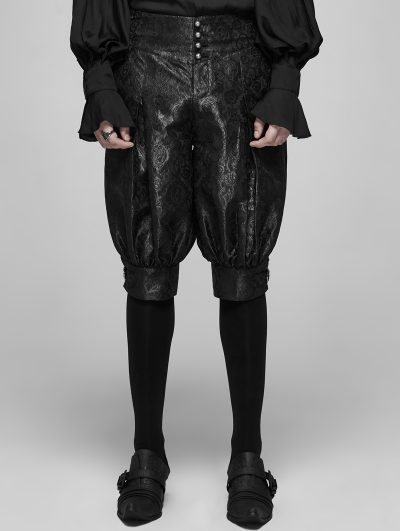 Black Vintage Gothic Victorian Palace Jacquard Knickerbockers for Men