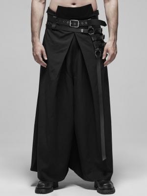 Black Gothic Japanese Warrior Style Pants for Men