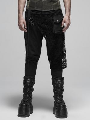 Black Fashion Gothic Punk Metal Long Pants for Men