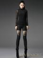 Black Pierced Lace Gothic Leggings for Women