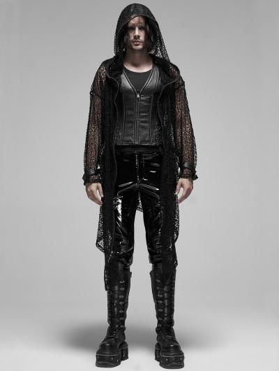 Black Gothic Mesh Hooded Long Trench Coat for Men