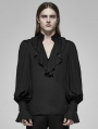 Black Vintage Gothic Rococo V-Neck Bubble Sleeves Shirt for Men